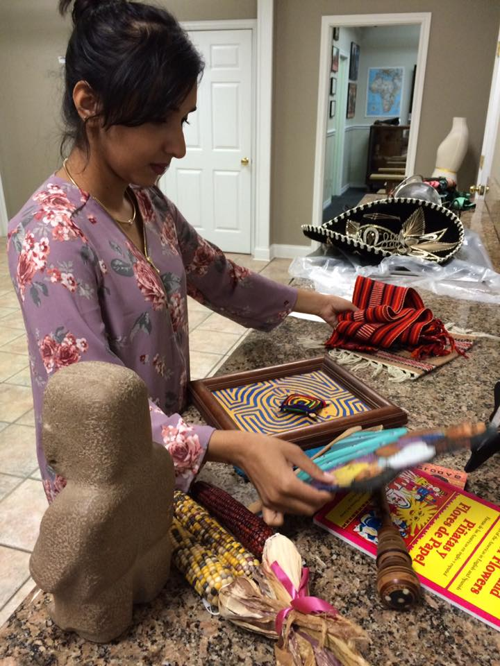 Amna curating Mexico Discovery Box